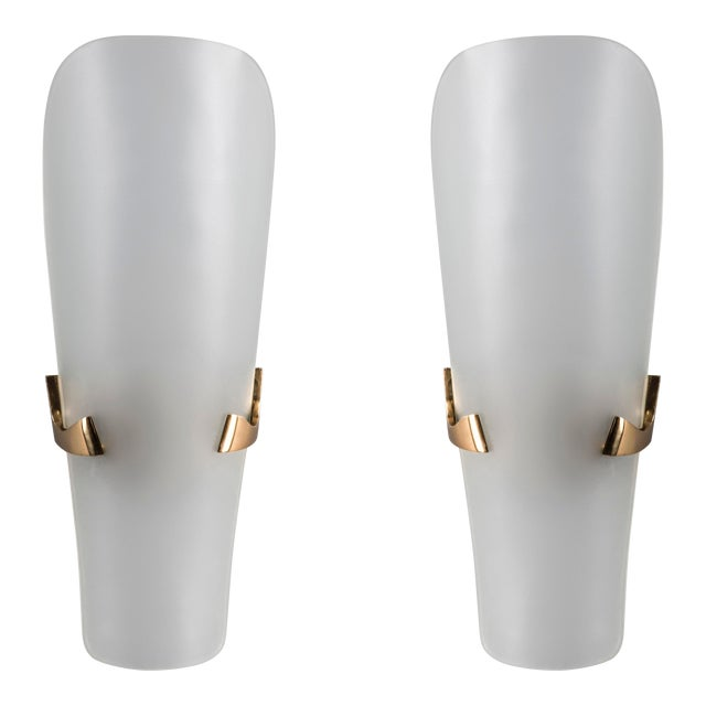 1950s Mid-Century Modern Max Ingrand for Fontana Arte Long Oval Curved Glass and Bronze Sconces - a Pair For Sale