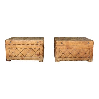 Antique Leather Pair of Chests