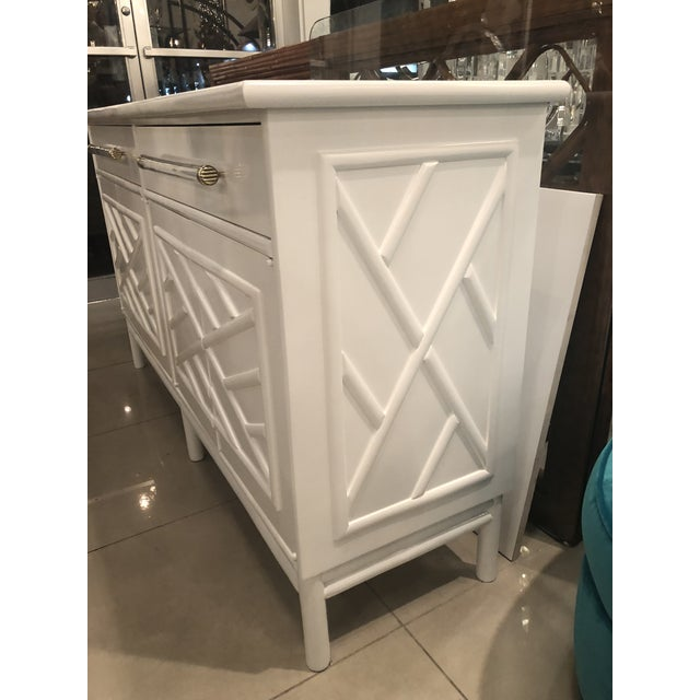 Lacquered White Chinese Chippendale Faux Bamboo Lucite Brass Credenza Buffet - Image 4 of 13