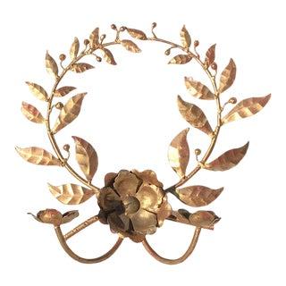 1960s Gilt Laurel Wreath Candle Sconce For Sale