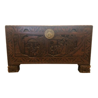 Antique Chinese Teak & Cedar Carved Chest For Sale