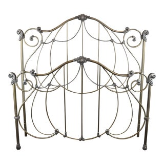 Vintage Ornate Open-Frame Metal Full Headboard and Footboard - 2 Pieces For Sale