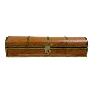 Brass Adorned Wooden Pencil or Trinket Box For Sale