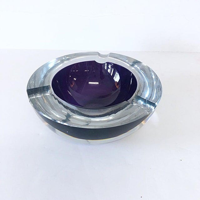 Mid Century Modern Seguso Italy Cased Clear over Violet-Purple Glass Ashtray Thick Glass. Substantial Weight. Dimensions:...