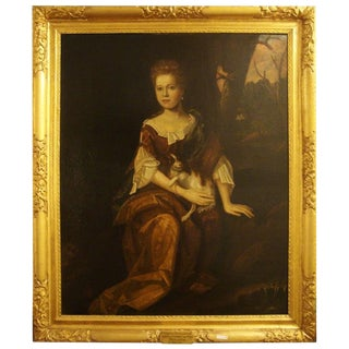 Oil on Canvas Portrait of Marjorie Muckleston With Her Dog For Sale