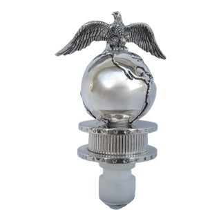 C.1990s Neman Marcus Silver Plate Globe & Eagle Topped Wine Bottle Stopper For Sale