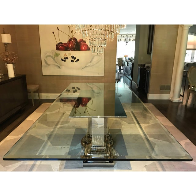 Dining Table With Stainless Steel Column Base by Brueton For Sale - Image 9 of 10