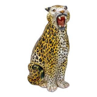 1960s Large Scale Hollywood Regency Terracotta Leopard