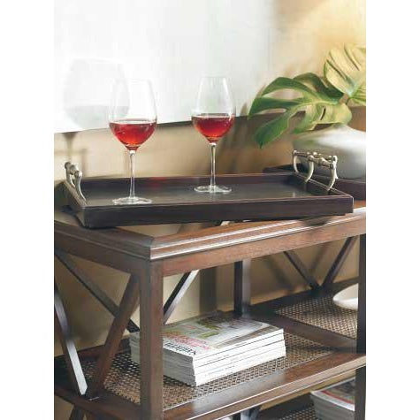 The Southampton Tiered Tray Bar Console Two removable trays with copper inserts and brass handles and lower shelves with...