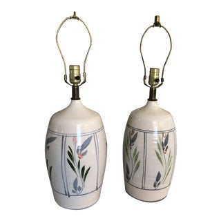 1970s Boho Chic California Pottery Lamps - a Pair For Sale
