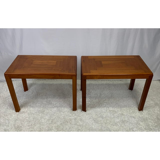 A matching pair of beautiful vintage 1960s Danish Mid-Century Modern side tables designed by Henning Kjaernulf for Vejle...