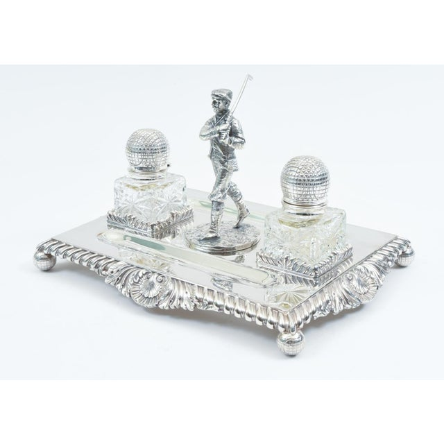 Hollywood Regency English Sheffield Silver Plated Golfer Footed Desk Inkwells With Stand For Sale - Image 3 of 10