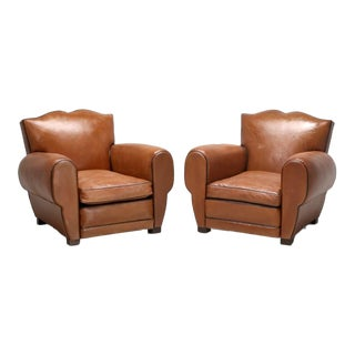 1930s French Leather Art Deco Restored Club Chairs - a Pair For Sale