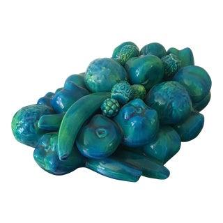 Blue & Green Italian Glazed Ceramic Fruit For Sale