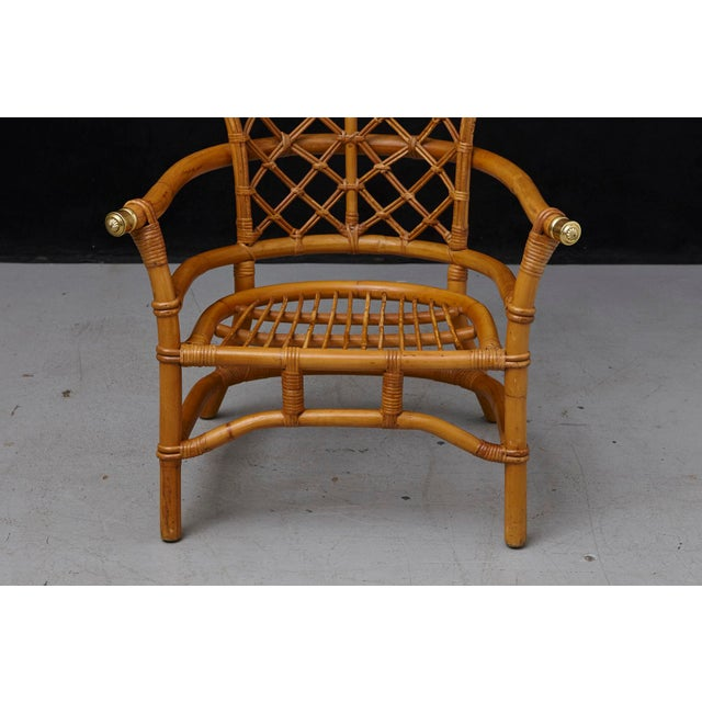 Hollywood Regency Hollywood Regency High Back Fan Style Rattan Armchair For Sale - Image 3 of 12