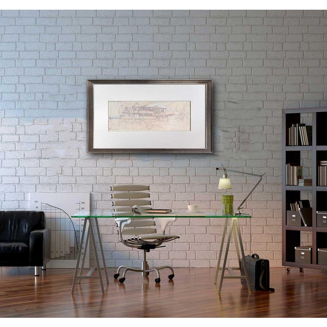 """1960s Frank Lloyd Wright Lithograph Limited Edition """"Ee Boynton House, Ny, Framed For Sale - Image 5 of 5"""
