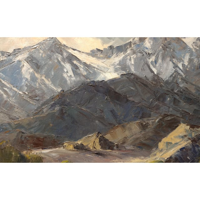 1940s Bennett Bradbury -California Mountain Landscape- Impressionist Oil Painting -C1940s For Sale - Image 5 of 10