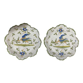 Martres-Tolosane Moustier Floral Small Plates, Pair For Sale