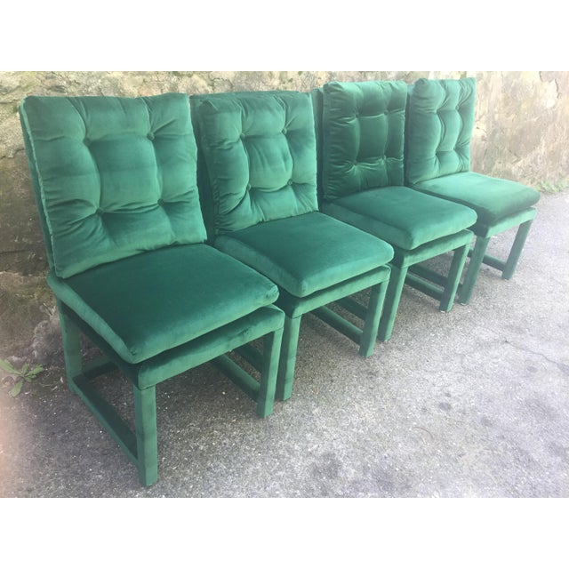 milo baughman style green velvet parsons dining chairs set of 4 chairish. Black Bedroom Furniture Sets. Home Design Ideas