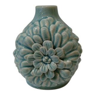 Shabby Chic Flower Detailed Blue Ceramic Vase