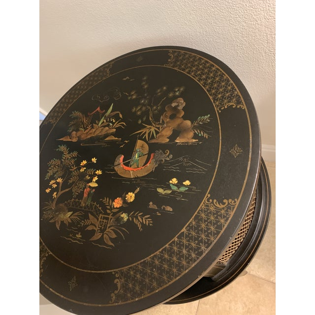 1930s 1930s Signed Katherine Henick Hand-Painted Chinoiserie Side Table For Sale - Image 5 of 13