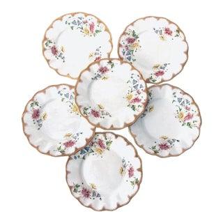 Vintage German Fine Porcelain Floral Design Set of 6 Dessert Plates