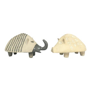 Bennington Potters Pig and Elephant Stoneware Pottery Banks – a Pair For Sale