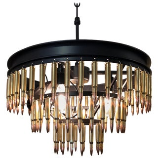 Artisan Made 3-Tier Copper Bullet Motife Chandelier For Sale