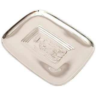 Diego Rivera Style Polished Silver Tray For Sale