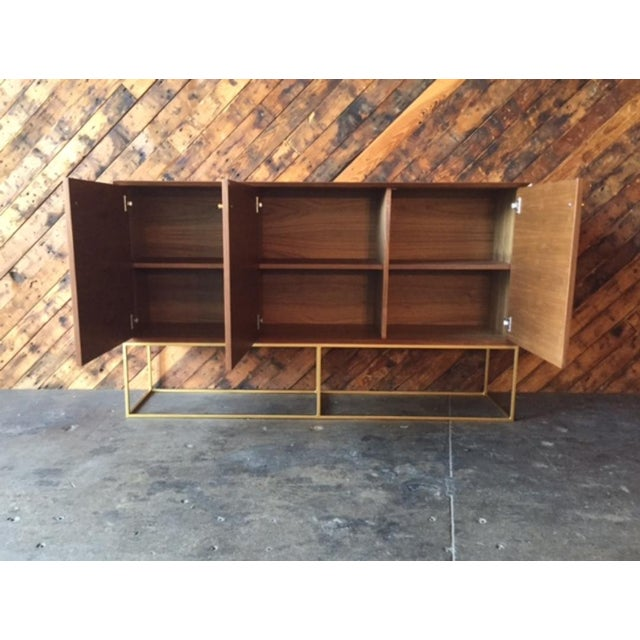 Custom Handmade Walnut Brass Base Credenza handmade, walnut wood, beautiful brass base, matching brass knobs, three doors,...