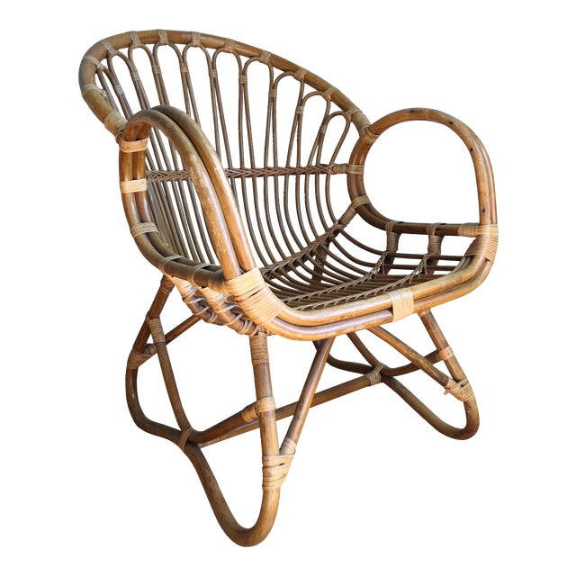 1960s Boho Chic Franco Albini Style Bamboo Lounge Chair For Sale