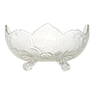 Antique Oval Footed Flower & Vine Bowl For Sale