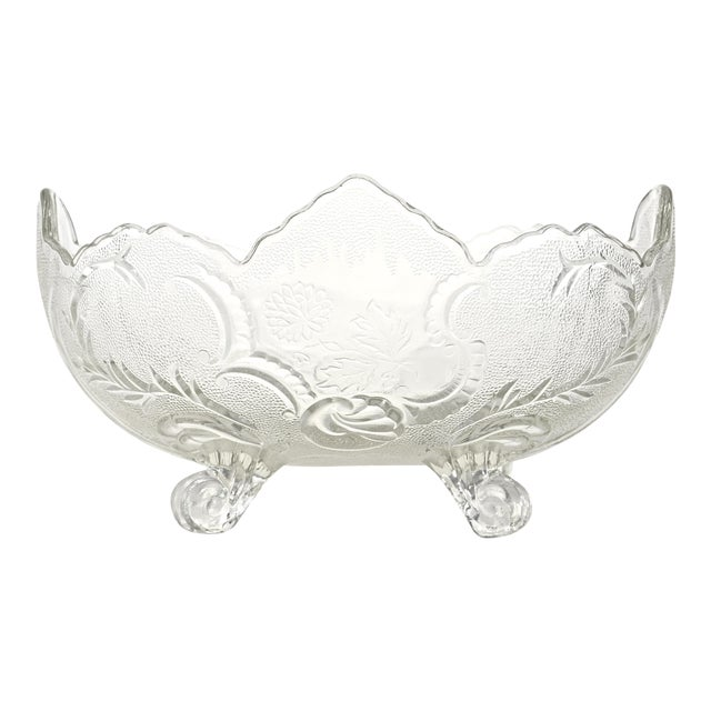 Antique Oval Footed Flower & Vine Bowl - Image 1 of 4