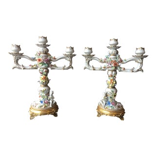 Antique French Rococo Meissen Parcel-Gilt Porcelain Candelabras - a Pair For Sale