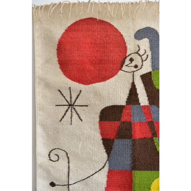 Lights 1965 Miro Style 'Upside Down Figures' Tapestry For Sale - Image 7 of 9