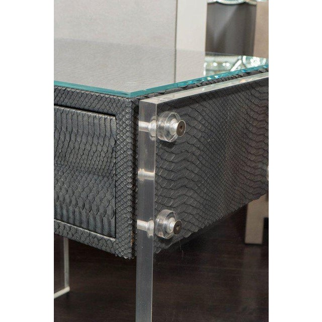Modern Pair of Gunmetal Gray Python Nightstands with Lucite Side Panels For Sale - Image 3 of 9