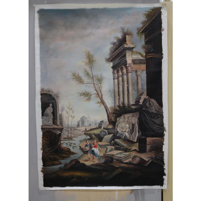 Canvas Oil on Canvas Painting of Ancient Ruins Beside a River For Sale - Image 7 of 7