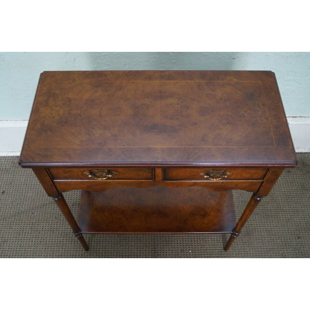 Burlwood Yorkshire House Small Burl Wood 2 Drawer Console Table For Sale - Image 7 of 10