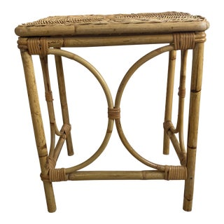 Boho Chic Wicker Faux Bamboo Side Table For Sale