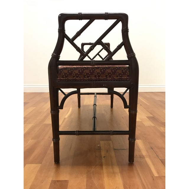 Chinese Chinese Chippendale Style Faux Bamboo Fretwork Window Bench For Sale - Image 3 of 6