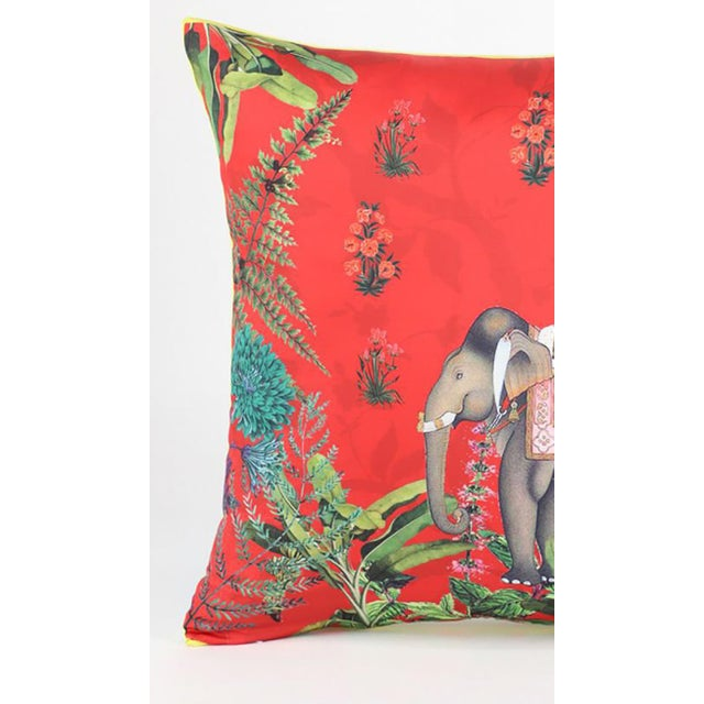 Boho Chic Boho Chic Elephant Silk Cushion Red Gray - a Pair For Sale - Image 3 of 9