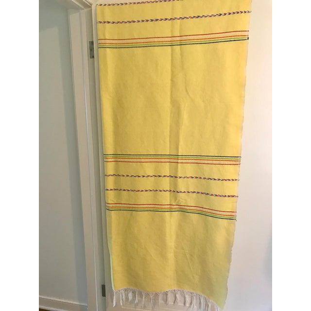 Yellow Throw Blanket With Fringe For Sale In Minneapolis - Image 6 of 8