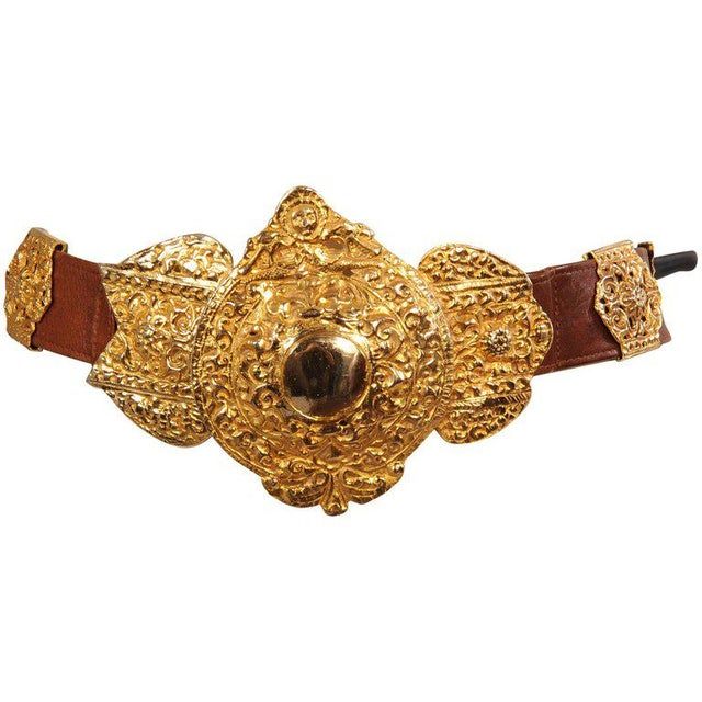Roberta DI Camerino for Saks Brown Leather Belt Golden Buckle and Slides For Sale In Philadelphia - Image 6 of 6
