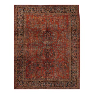 "Pasargad Antique Persian Sarouk Hand Knotted Rug - 9'2"" X 12' For Sale"
