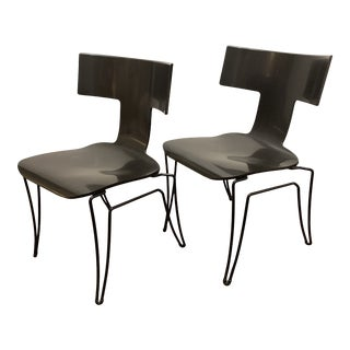 1960s Vintage Black Anziano Chairs by John Hutton for Donghia - a Pair For Sale