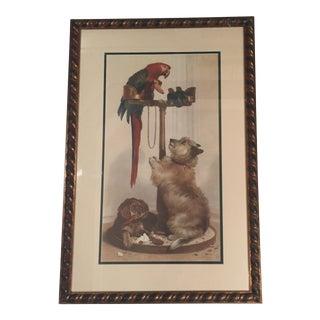 Vintage Colored Dog & Parrot Print For Sale