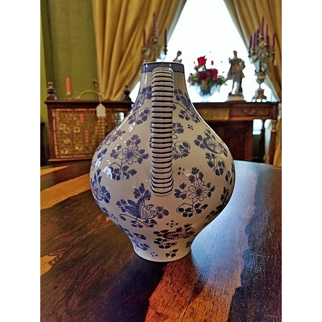 Blue Early 19c French Utzschneider & Cie Sarreguemines Pitcher For Sale - Image 8 of 11