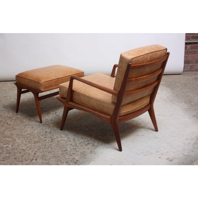 1950s Italian Modern Carlo De Carli Walnut and Leather Lounge Chair and Ottoman For Sale - Image 5 of 13