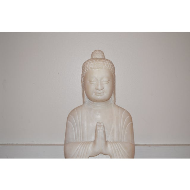 Antique White Marble Buddha Statue - Image 3 of 7