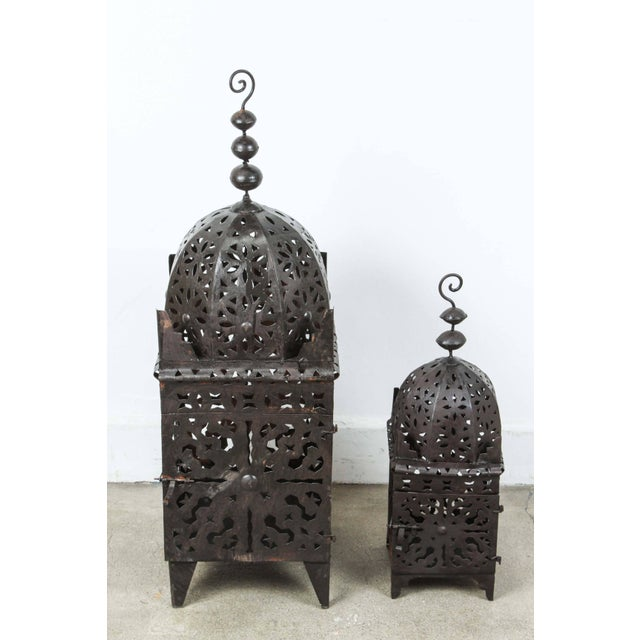 Set of Three Large Moroccan Hurricane Metal Candle Lanterns For Sale - Image 4 of 7